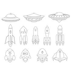 spaceship spacecraft rocket ufo vector image