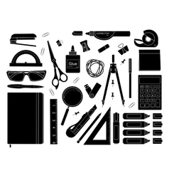 Stationery tools silhouettes vector image
