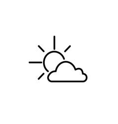 sun cloud icon black on white vector image