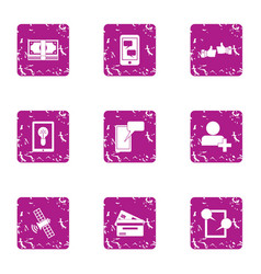 Superb icons set grunge style vector