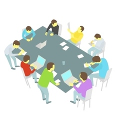 Table talks nine persons set Group of business vector image