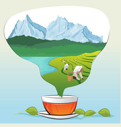 Tea cup with leaves and tea plantations vector