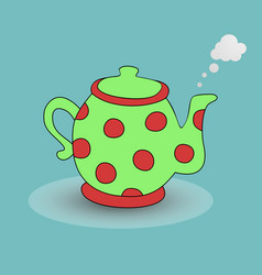 teapot kettle tea kettle icon and silhouette vector image