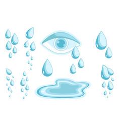 Tears set cry symbol psychology problem vector