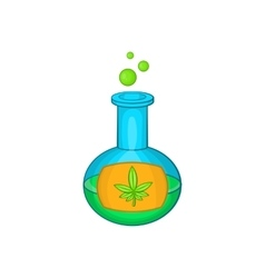 Test tube with marijuana leaf icon cartoon style vector image