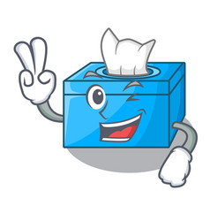 Two finger cartoon tissue box in the restaurant vector
