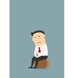 Unemployed cartoon businessman after dismissal vector image
