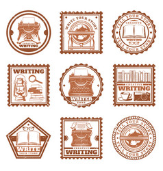 Vintage writing stamps set vector