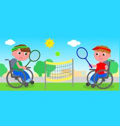wheelchair tennis match vector image