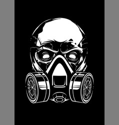 white skull with respirator on black background vector image