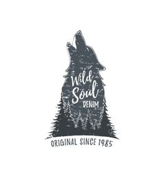 Wolf howling Grunge logo vector image