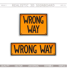 wrong way road sign top view vector image