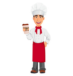 Young professional chef in uniform and cook hat vector