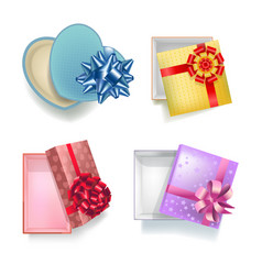 gift boxes with open covers realistic colorful set vector image