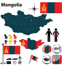 Map of Mongolia vector image vector image