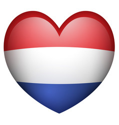 netherland flag in heart shape vector image vector image