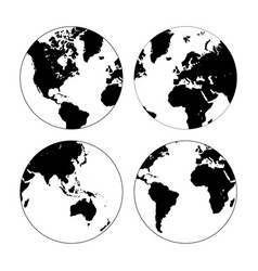 set of high detailed globes vector image