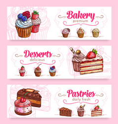 cake and cupcake desserts banner for food design vector image vector image