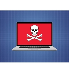 computer hacked with skull symbol and danger alert vector image