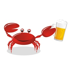 crab holds beer vector image vector image