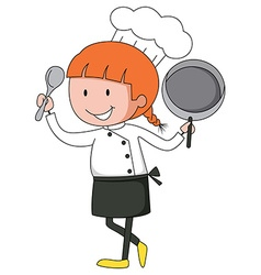 Female chef in uniform vector image vector image