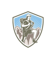 Female Hiker Hiking Mountain Shield Retro vector image