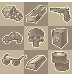 Monochrome gangsta icons vector image vector image
