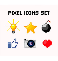 pixel icons set vector image vector image