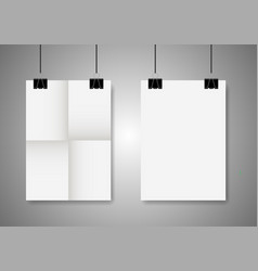 twice a folded poster with clamps vector image vector image