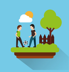 two man palying with football ball with landscape vector image