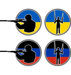 Ukrainian and pro Russian soldiers vector image