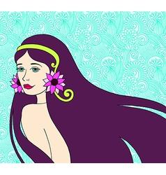 beautiful brunette girl on floral background vector image