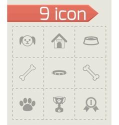 black dog icon set vector image