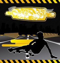 urban city composition with longboard skateboarder vector image vector image