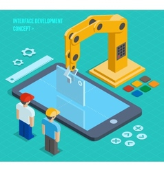 3d isometric user interface development vector image