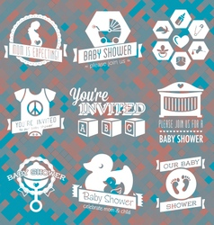 Baby Shower Invite Labels in Retro Sty vector image vector image