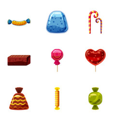 chocolate candy icons set cartoon style vector image vector image