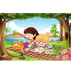 Girls reading under trees in beautiful park vector image
