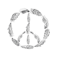 Peace Hippie Symbol with Feather in Boho Style vector image vector image