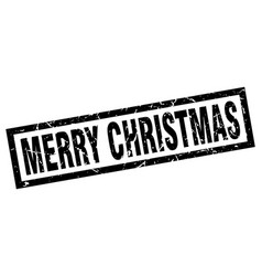 square grunge black merry christmas stamp vector image vector image
