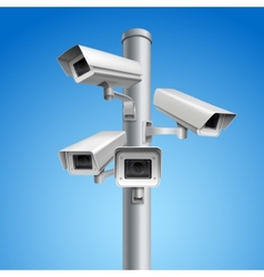 Surveillance camera pillar vector image
