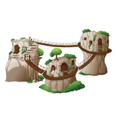 Tree houses with hanging bridges vector image