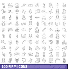 100 firm icons set outline style vector