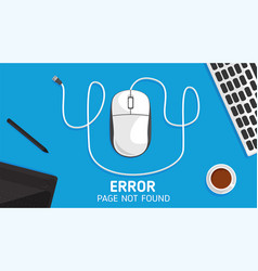 404 mouse error page not found flat vector