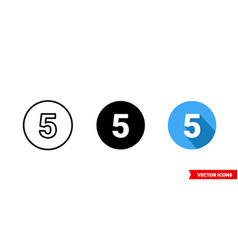 5 symbol icon 3 types color black and white vector image