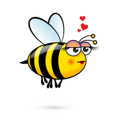 a friendly cute female bee in love vector image