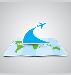 a map and a plane made by paper vector image