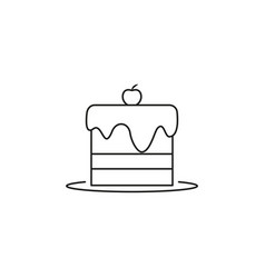 a piece of cheesecake icon with cherry vector image