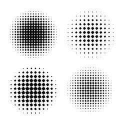 Abstract halftone circle shapes set vector