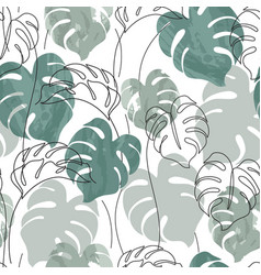 abstract minimal monstera leaves plant in one vector image